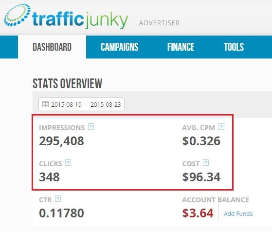 Traffic junky_dash board
