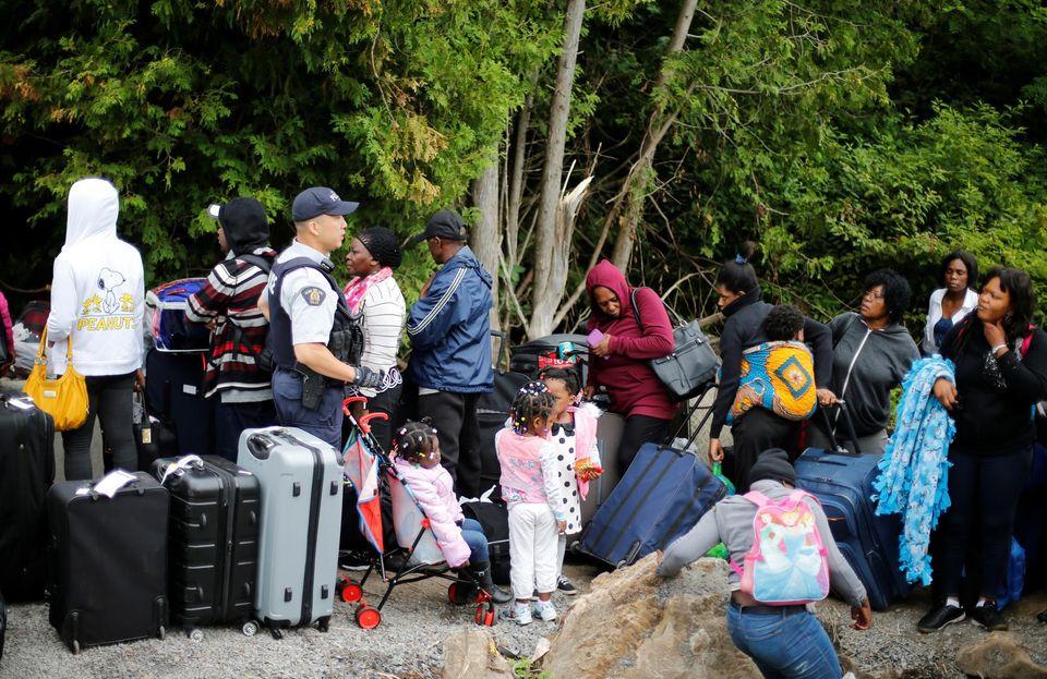 Migrants haitiens à la frontière.